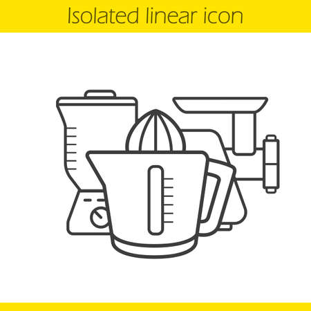 Kitchen electronics linear icon. Thin line illustration. Blender, juicer, meat grinder contour symbol. Vector isolated outline drawing