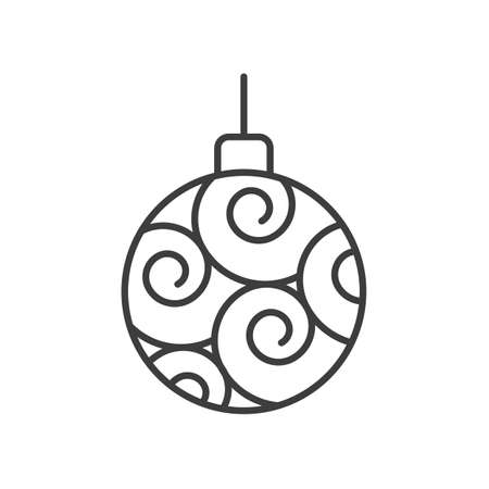 Christmas tree ball linear icon. Thin line illustration. Xmas tree bauble contour symbol. Vector isolated outline drawing