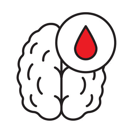 Stroke linear icon. Thin line illustration. Human brain with blood drop. Cerebral hemorrhage contour symbol. Vector isolated outline drawing Illustration