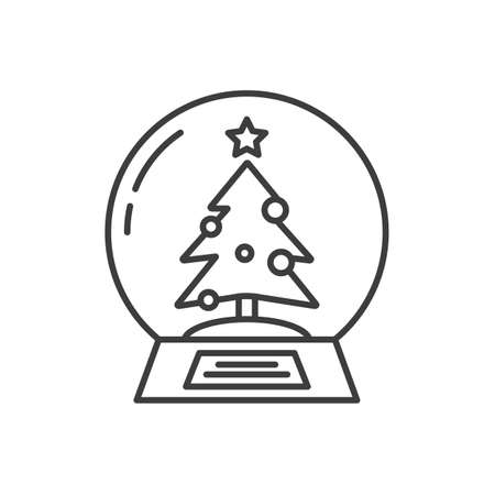 snowdome: Snow globe linear icon. Thin line illustration. Water globe with Christmas tree inside. Contour symbol. Vector isolated outline drawing