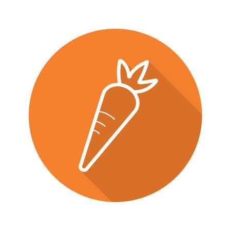 Icône plate longue ombre carotte. Ligne symbole vecteur