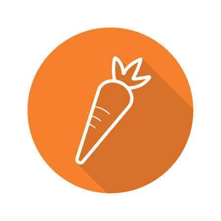 Zanahoria plano lineal larga sombra icono. Vector línea símbolo