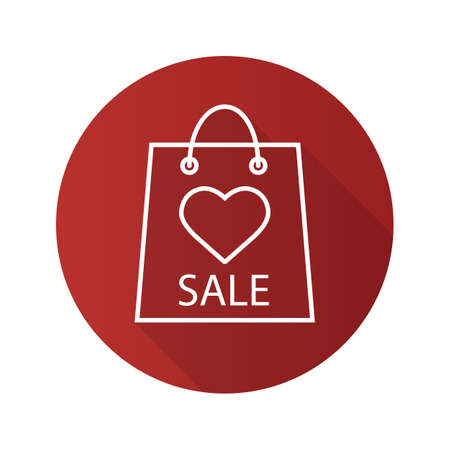 Valentines Day sale flat linear long shadow icon. Store bag with heart shape. Vector line symbol