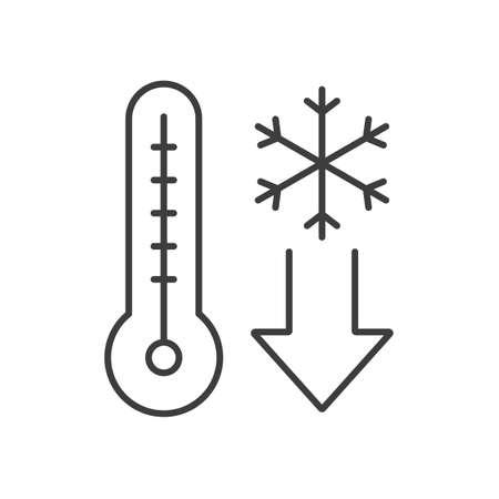 Icône linéaire tombant de la température. Illustration de la ligne mince. Thermomètre avec flocon de neige. Symbole de contour de temps froid hiver. Dessin de contour isolé Vector