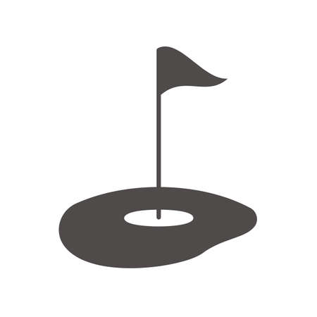 Golf course icon. Silhouette symbol. Flagstick in hole. Vector isolated illustration