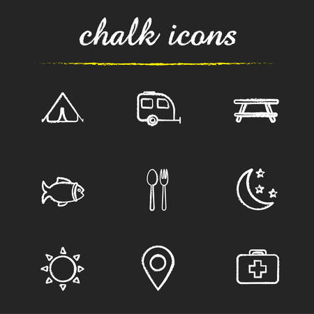 Camping and tourism chalk icons set. Tent, trailer, picnic table, fish, fork and spoon, moon and stars, sun, geolocation mark, first aid kit. Isolated vector chalkboard illustrations