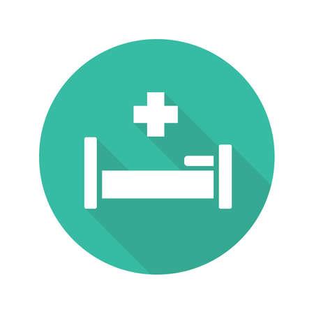 Icône de l'hôpital grandissime design plat. Lit d'hôpital avec croix médicale. Symbole de silhouette de vecteur
