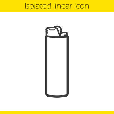 gas lighter: Lighter linear icon. Thin line illustration. Disposable gas lighter contour symbol. Vector isolated outline drawing Illustration