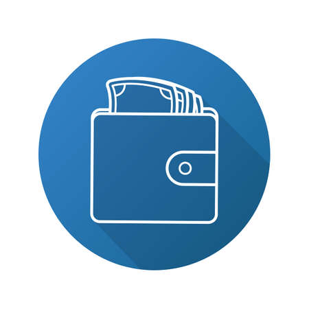 financial item: Wallet with money flat linear long shadow icon. Purse full of cash. Vector line symbol Illustration