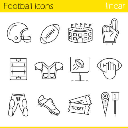 American football linear icons set. Helmet, shoulder pad, ball, shorts, Hand holding ball, goal sign,foam finger, game tickets, arena. Thin line contour symbols. Isolated vector illustrations Vettoriali