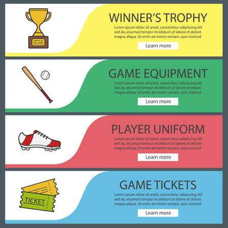 baseball banner templates set softball bat and ball winner s