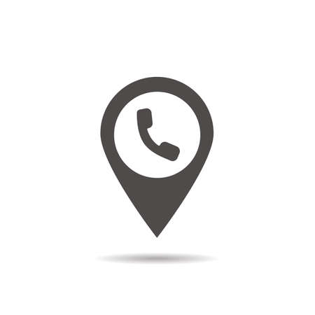 pinpoint: Public telephone location icon. Drop shadow map pointer silhouette symbol. Phone pinpoint. Vector isolated illustration