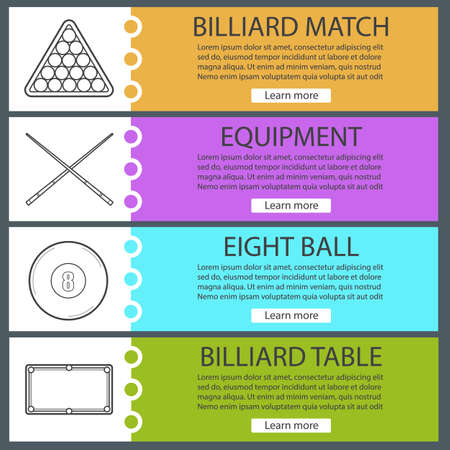 Billiard banner templates set. Easy to edit. Snooker ball rack, crossed cues, table, eight ball. Color website menu items with linear icons. Vector headers design concepts Illustration