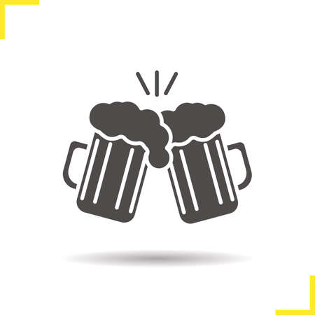 Toasting beer glasses icon. Drop shadow cheers silhouette symbol. Two foamy beer glasses. Negative space. Vector isolated illustration Vectores