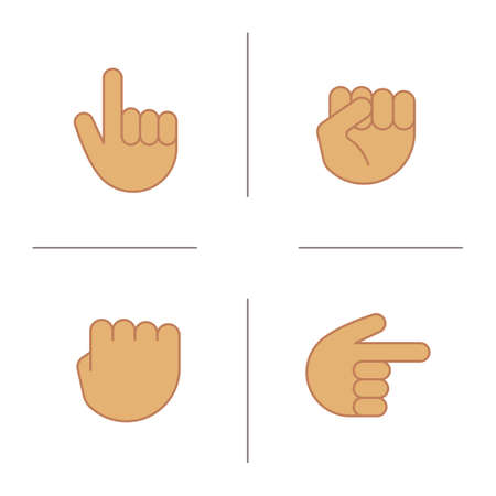 Hand gestures color icons set. Squeezed and raised fists, hands pointing right and up. Isolated vector illustrations Illustration