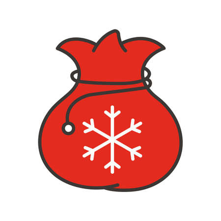 Santa Claus gift bag color icon. Isolated vector illustration
