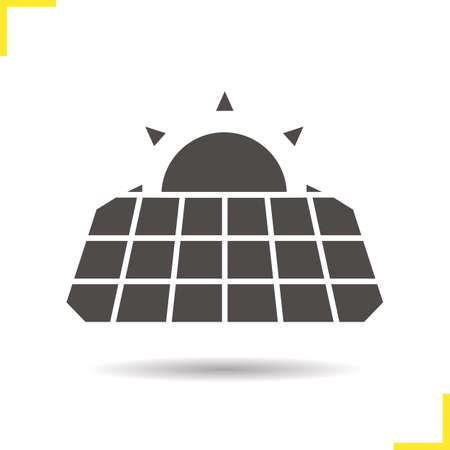 Solar panels with rising sun icon. Drop shadow silhouette symbol. Eco energy concept. Negative space. Vector isolated illustration