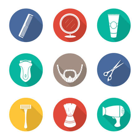Shaving. Flat design long shadow icons set. Barber shop. Electric shaver, scissors and comb, after shave cream, mirror, shaving brush, hairdryer and beard. Vector silhouette illustration Illustration