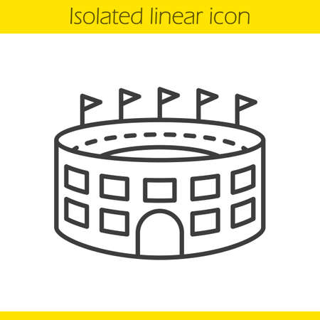 Stadium building linear icon. Thin line illustration. Sport arena contour symbol. Vector isolated outline drawing