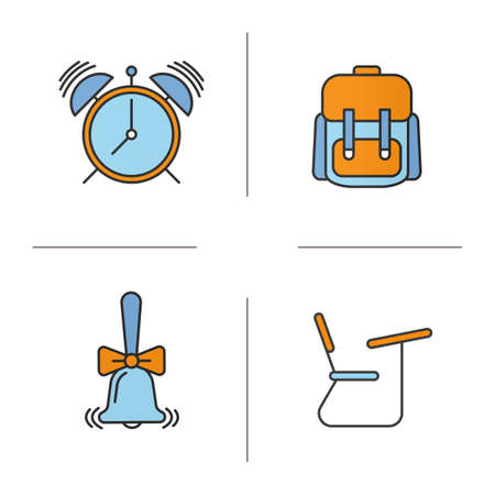 School and education color icons set. Students backpack, alarm clock, ringing school bell, desk. Isolated vector illustrations