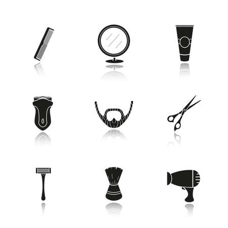 barbershop: Shaving accessories drop shadow black icons set. Barbershop equipment. Comb, mirror, aftershave tube, electric shaver, razor, beard, scissors, shaving brush, hairdryer. Isolated vector illustrations