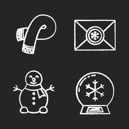 claus: Winter season chalk icons set. Letter to Santa Claus, snowman, snow ball, warm winter scarf. Isolated vector chalkboard illustrations