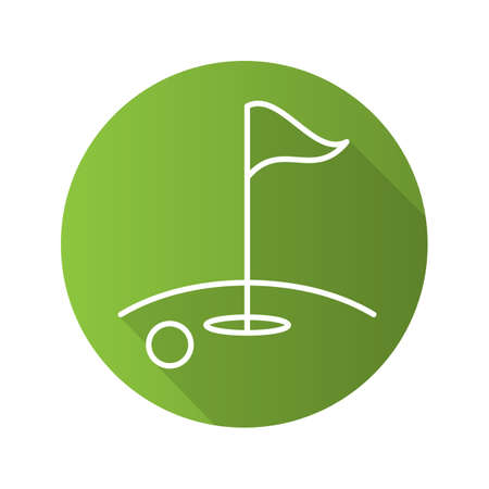 Golf course flat linear long shadow icon. Ball and flagstick in hole. Vector line symbol