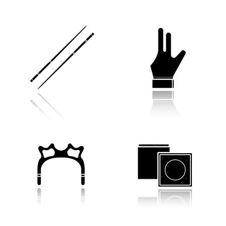 pool cues: Billiard accessories drop shadow black icons set. Pool equipment. Cues, chalk, glove, rest head. Isolated vector illustrations