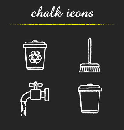 cleaning service: Cleaning service chalk icons set. Environment protection. Running tap water, recycle bins, mop. Isolated vector chalkboard illustrations Illustration