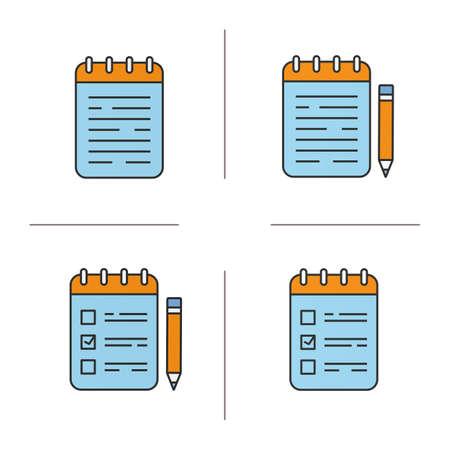 Bloc-notes couleur ensemble d'icônes. Carnets et faire des listes avec des crayons. Illustrations vectorielles isolées