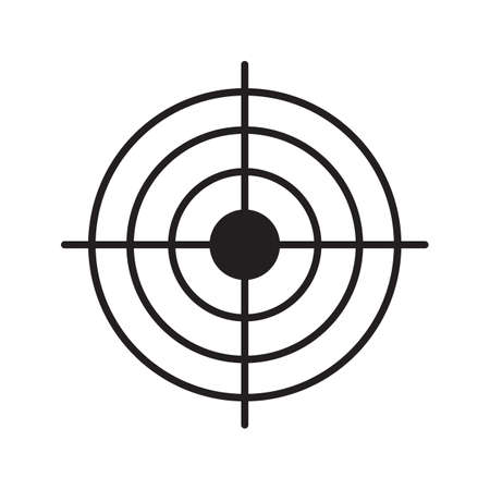 Gun target linear icon. Aim. Thin line illustration. Radar contour symbol. Vector isolated outline drawing