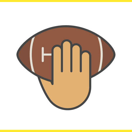 inning: Hand throwing american football ball color icon. Hand holding rugby ball. Inning. Isolated vector illustration