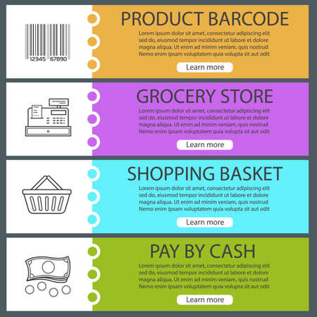 website buttons: Supermarket banner templates set. Grocery store. Product barcode, cash register, shopping basket, money. Website menu items with linear icons. Color web banner. Vector headers design concepts Illustration