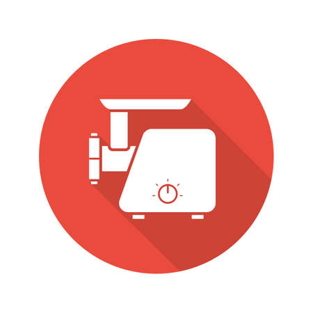 meat  grinder: Meat grinder flat design long shadow icon. Electric mincer. Vector silhouette symbol