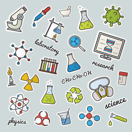laboratory equipment: Chemical lab patches. Science. Color stickers, pins and badges set. Gas mask, molecule, atom, biohazard, recycle and radiation symbols, test tubes, flask with liquid. Vector isolated illustrations