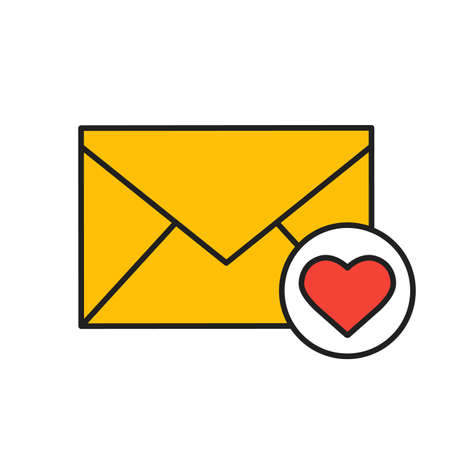 Love letter color icon. Valentines Day correspondence. Isolated vector illustration Illustration
