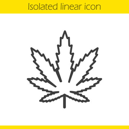 Marijuana leaf linear icon. Thin line illustration. Cannabis weed contour symbol. Vector isolated outline drawing