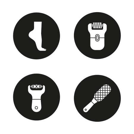epilator: Feet care icons set. Womans foot, file, rasp, epilator. Vector white silhouettes illustrations in black circles