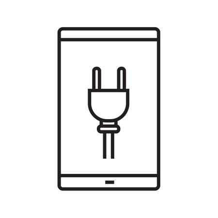 smart: Smartphone charging linear icon. Thin line illustration. Smart phone with electric plug contour symbol. Vector isolated outline drawing