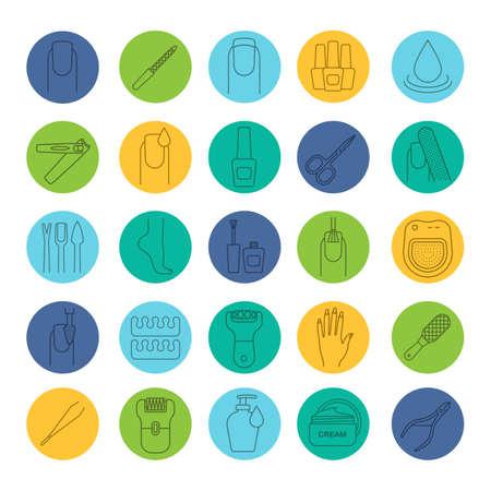 Manicure and pedicure linear icons set. Nail polish, scissors, epilator, soap, cream, tweezers, foot rasp, cuticle nipper. Thin line contour symbols on color circles. Vector illustrations Illustration