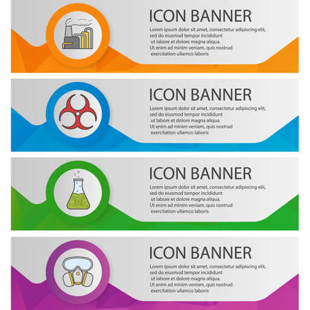 poison: Chemical industry banner templates set. Factory air pollution, poison liquid, biohazard symbol, gas mask website menu items. Color polygonal web banner concepts. Vector backgrounds