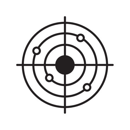 Shooting range linear icon. Radar thin line illustration. Gun target with bullet holes contour symbol. Vector isolated outline drawing Illustration