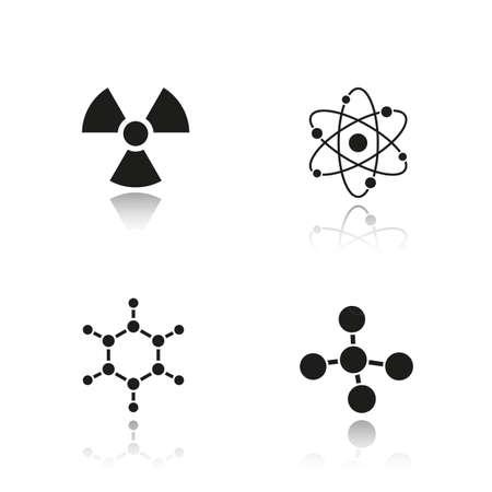 caution chemistry: Chemistry and physics. Drop shadow black icons set. Atom, molecule and radioactive caution symbols.