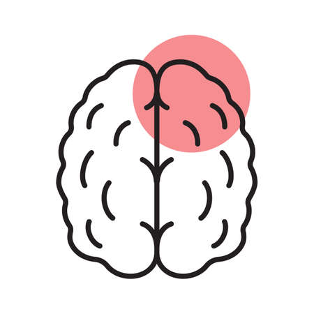 Stroke linear icon. Thin line illustration. Human brain with red circle. Cerebral hemorrhage contour symbol. Vector isolated outline drawing Vectores