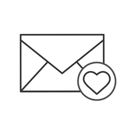 to confess love: Love letter linear icon. Thin line illustration. Valentines Day correspondence contour symbol. Vector isolated outline drawing