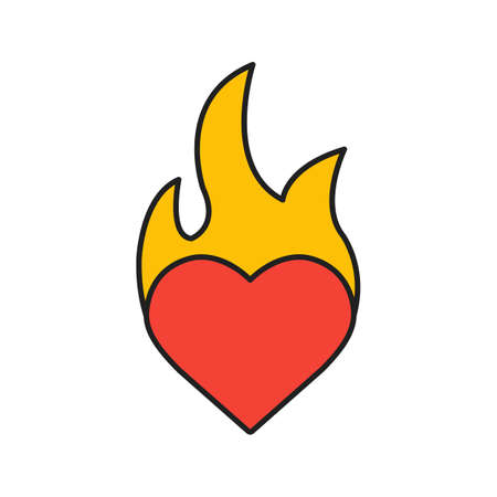 Burning heart color icon. Passion. Heart on fire. Isolated vector illustration