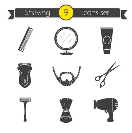 scissors: Shaving icons set. Barber shop silhouette symbols. Electric shaver, scissors and comb, after shave cream, mirror, shaving brush, hairdryer and beard.