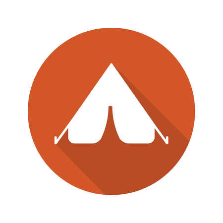 nap: Tent flat design long shadow icon. Vector silhouette symbol