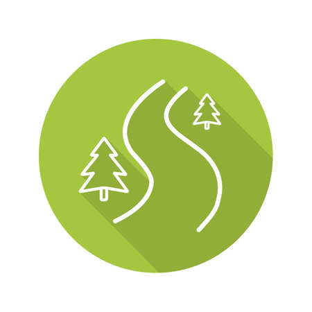 Winding country road. Flat linear long shadow icon. Forest path with fir trees. Vector line symbol