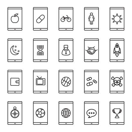 Smartphone apps linear icons set. Smart phone sport, business, medical, email apps.